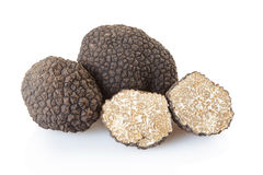 Black truffles group and section Stock Photo
