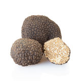 Black truffles and half on white royalty free stock photography