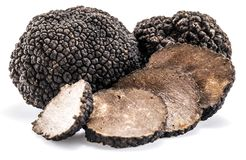 Black truffles isolated on a white background. royalty free stock image