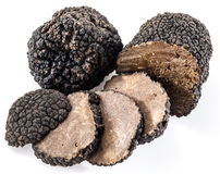 Black truffles isolated on a white. Royalty Free Stock Photography
