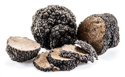 Black truffles isolated on a white. stock photo