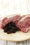 Black truffles and Kobe beef. royalty free stock image