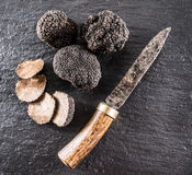 Black truffles and truffle slices on a graphite board. Black truffles and truffle slices on the graphite board royalty free stock photos
