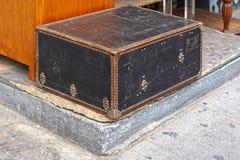 Black trunk. Retro black trunk travel case Royalty Free Stock Photos