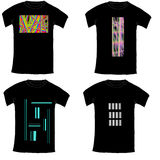 Black Tshirt collection with abstract illustration on white Stock Photos
