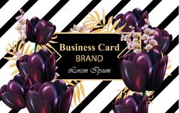 Black tulips Luxury card Vector. Beautiful illustration for invitation, wedding, brand book, business card or poster vector illustration