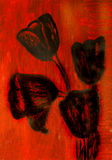 Black tulips, painting Royalty Free Stock Images