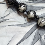 Black tulle with beads Royalty Free Stock Photos