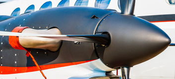 Black turbo-prop engine of a modern aircraft Royalty Free Stock Photo