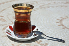 Black Turkish tea. Traditional hot black Turkish tea, Istanbul royalty free stock photography