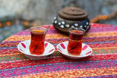 Turkish tea in traditional glasses Stock Photo