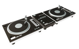 Black turntable isolated on white background with clipping mask Stock Image
