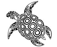 Black Turtle. Illustration and Logo in portrait pose showing ears, eyes and beak constructed from various shapes of material paper for example keeping the number Royalty Free Stock Image