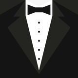 Black tuxedo with a butterfly and a white shirt. Vector illustration Stock Photography