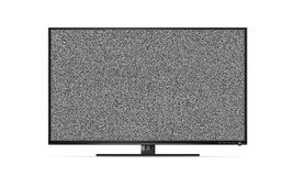 Black TV flat screen stand with white noise, mock up isolated. B Royalty Free Stock Image
