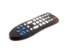 Black TV remote control isolated on white Stock Photo