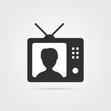 Black tv with shadow and anchorwoman icon Royalty Free Stock Photography