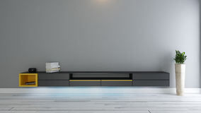 Black tv stand with plant. In the room decor idea 3d rendering Stock Photography