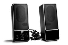 Black two speaker isolated on white background Stock Photo
