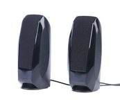 Black two speaker with wire. Royalty Free Stock Photography