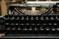 Black typewriter keys. With Cyrillic letters Stock Photo