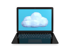 Black ultra thin laptop with low polygon cloud model. Concept for cloud computing Stock Photos