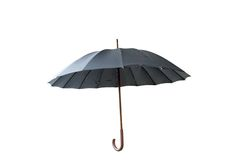Black umbrella. In the opened position Stock Photo