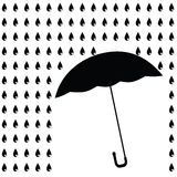 Black umbrella with black rain. Raster Stock Images