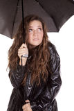 Black umbrella cold Royalty Free Stock Photos