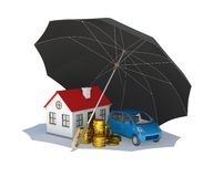Black umbrella covers home, car and money Stock Images