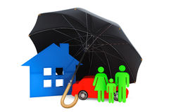 Black umbrella covers home, car and persons. On a white background Royalty Free Stock Photography
