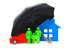 Black umbrella covers home, car and persons. On a white background Stock Photos