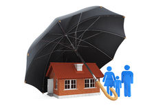 Black umbrella covers home and family. On a white background Stock Photography