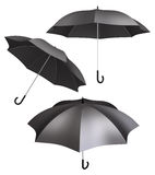 Black umbrella isolated different views Royalty Free Stock Photography