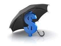 Black umbrella protect to dollar. This is a 3d rendered computer generated image. Isolated on white Royalty Free Stock Photography