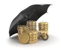 Black umbrella protecting to money Royalty Free Stock Image