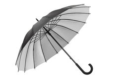 Black umbrella with silver interior on white Stock Photos