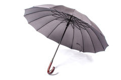 Black umbrella with wooden handle Royalty Free Stock Photos