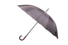 Black umbrella with wooden handle Royalty Free Stock Images