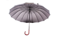 Black umbrella with wooden handle Royalty Free Stock Photography