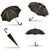 Black umbrellas set Royalty Free Stock Photo