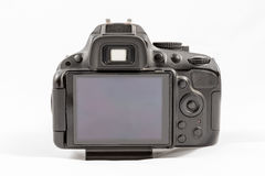 Black unbranded DSLR camera isolated on white background Royalty Free Stock Image