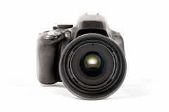 Black unbranded DSLR camera isolated on white background Stock Photo