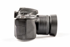Black unbranded DSLR camera isolated on white background Royalty Free Stock Photo