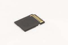Black unbranded memory SD card. Isolated on white background Royalty Free Stock Image