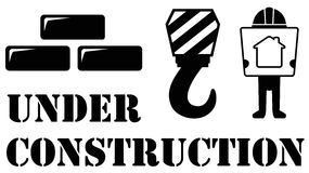Black under construction symbol Stock Photography