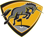 Black Unicorn Horse Charging Golf Course Retro Royalty Free Stock Photos