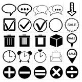 Black universal web icons set Stock Image