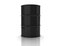 Black unmarked oil barrel. On white background vector illustration