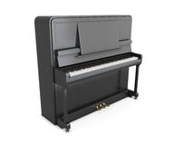 Black upright piano. Isolated on white background. 3d illustration Royalty Free Stock Photography